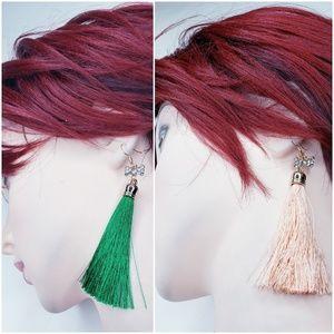 2 Sets Fashion Boho Crystal Tassel Dangle Earrings